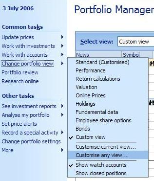 Choosing the option to customize the current portfolio view in Money
