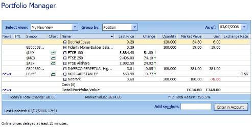 Displaying the customized portfolio view in the portfolio manager