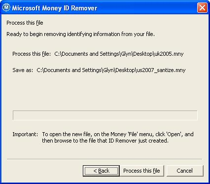 Confirming details of Microsoft Money files to use in the Microsoft Money ID Remover tool (sanitize.exe)