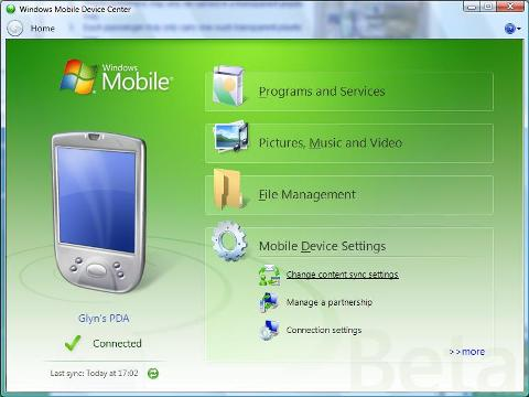 Windows Vista Mobile Device Center