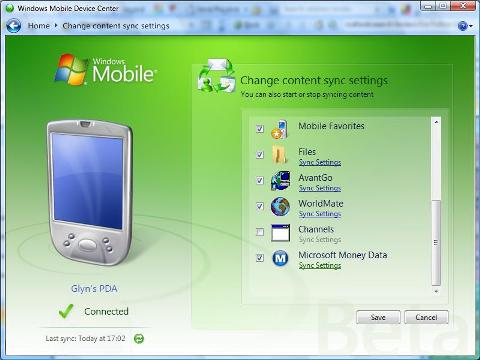Windows Vista Mobile Device Center - Changing content synchronization settings