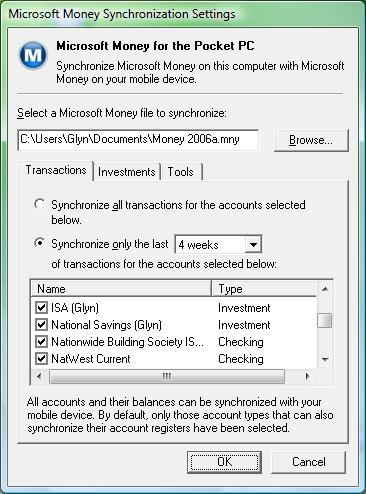 Windows Vista Mobile Device Center - Specific synchronization settings