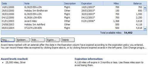 Showing expired miles or points in the Microsoft Money frequent flyer accounts