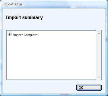 Import Summary window for MS Money