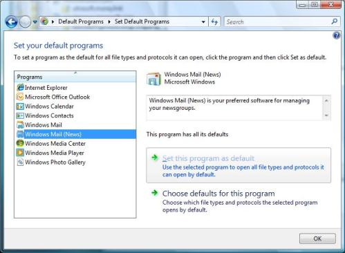 Set your default programs - choosind Windows Mail (News) for news: links in Vista