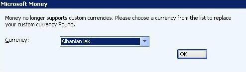 Money no longer supports custom currencies. Please choose a currency from the list to replace your custom currency Pound