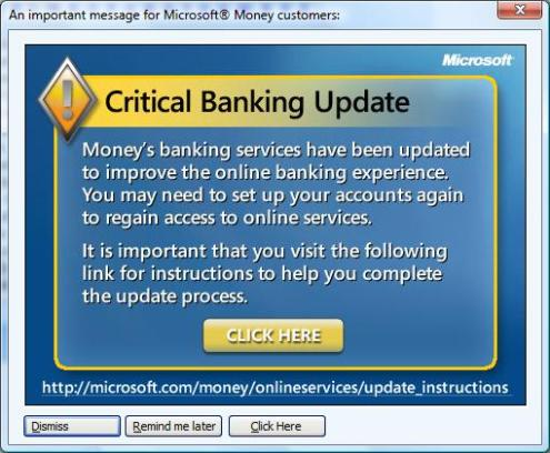 Money's banking services have been updated to improve the online banking experience. You may need ot set up your accounts again to regain access to online services. It is important that you visit the following link for instructions to help you complete the update process