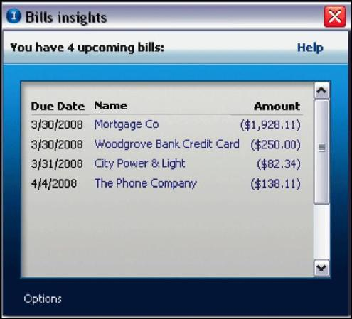 View of bills in Money Plus Insights