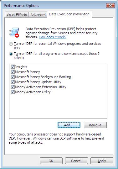 Data Execution Prevention (DEP) with Microsoft Money Plus executables