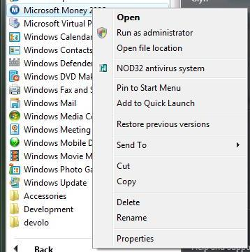 Context menu for Microsoft Money running under Windows Vista