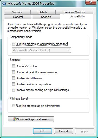 Compatibility mode tab in Windows Vista