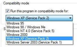 Versions of Windows availability in the compatibility mode tab