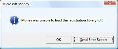 Money was unable to load the registration library (dll)