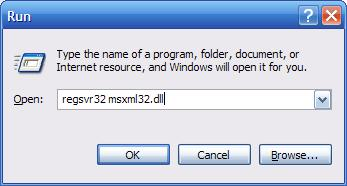 re-register the msxml3.dll file