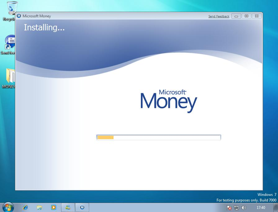Microsoft Money starting to install on Windows 7