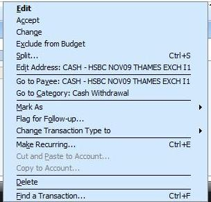 Right click context menu for Microsoft Money transaction matching
