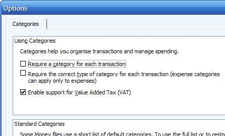 enabling VAT or GST for the money file