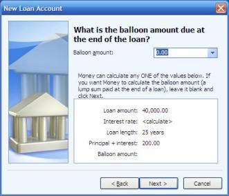 Setting a zero balloon amount when setting up a loan or mortgage account