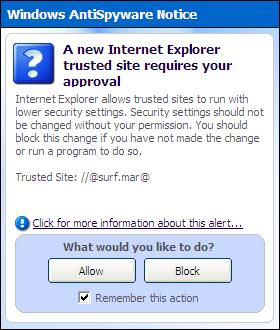 Microsoft Antispyware popup for Trusted Site //@surf.mar@ and @signup.mar@