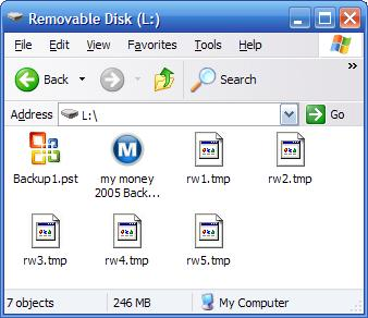 Unremoved rw1.tmp, rw2.tmp files in Microsoft Money on a removeable disk