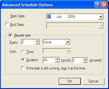 Advanced Scheduled Task Options